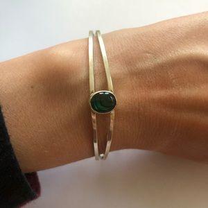 Sterling Silver Adjustable Bracelet Green Stone